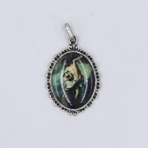 Medalla de San Francisco en porcelana y plata de Ley