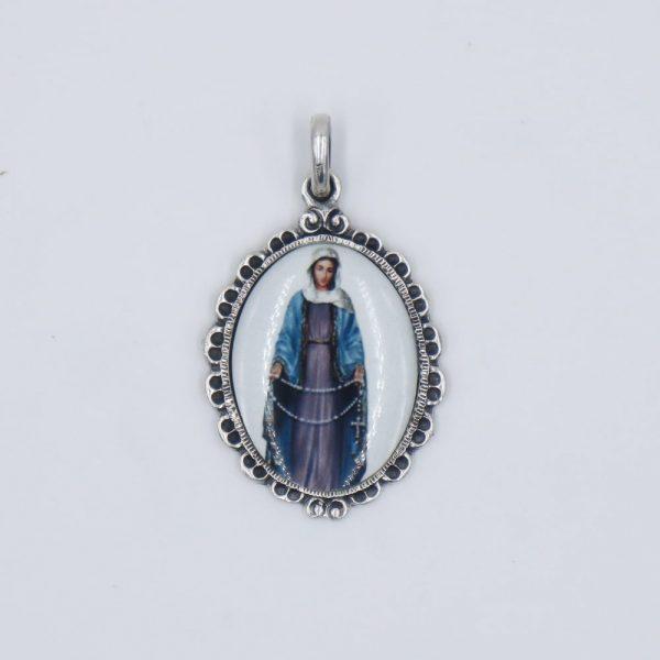 Medalla de porcelana de la Virgen Blanca